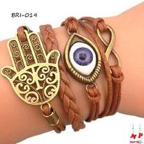 Bracelet infini brun en similicuir et multi-breloques main de Fatma dorée et oeil bleu