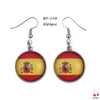 Boucles d'oreilles pendantes cabochons en verre drapeaux de l'Espagne