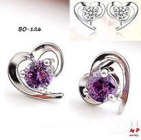Boucles d'oreilles petits coeurs argentés et pierres violette ou blanche