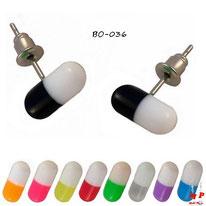 Boucles d'oreilles pilules ou gélules 9 couleurs