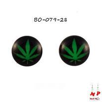Boucles d'oreilles feuilles de cannabis vertes et noires
