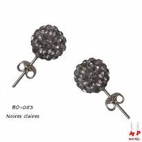 Boucles d'oreilles perles rondes shamballa noires claires