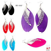 Boucles d'oreilles plumes noires, violettes, bleues, magenta, rouges et ailes argentées