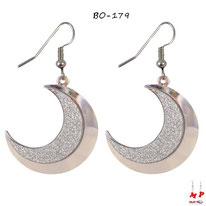 Boucles d'oreilles pendantes à lunes argentées et paillettes