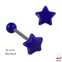 Piercing langue étoile bleu foncé en acrylique