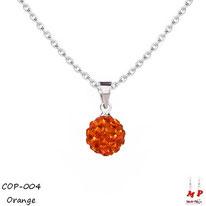 Collier à pendentif shamballa orange