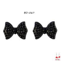 Boucles d'oreilles noeuds papillons noirs