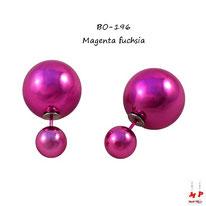 Boucles d'oreilles double perles magenta fuchsia nacrées