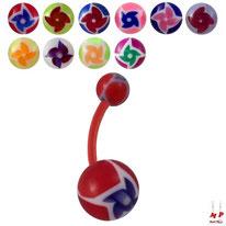 Piercings nombrils bioflex boules acryliques à hélices