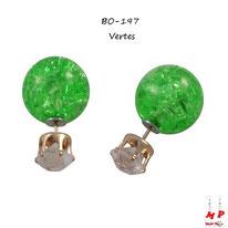 Boucles d'oreilles double strass blancs et perles vertes fissurées