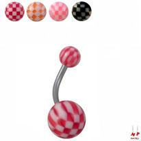 Piercings nombrils à boules acryliques échiquiers