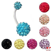 Piercing nombril boules shamballa