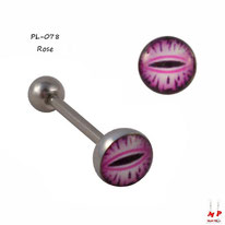 Piercing langue oeil de serpent rose en acier chirurgical