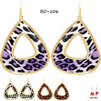 Boucles d'oreilles pendantes créoles dorées triangles léopards tachetées