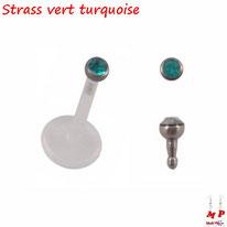 Piercing labret bioflex strass vert turquoise 2mm