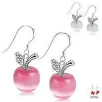 Boucles d'oreilles pendantes pommes roses ou blanches opale