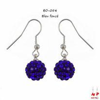Boucles d'oreilles pendantes shamballa bleues foncées