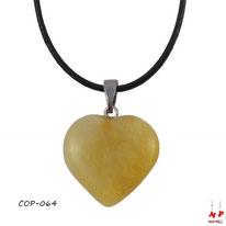 Collier à pendentif coeur en pierre de jade jaune