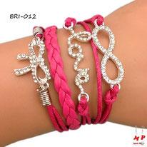 Bracelet infini fuchsia en similicuir et multi-breloques flot et love sertis de strass