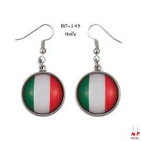 Boucles d'oreilles pendantes cabochons en verre drapeaux de l'Italie
