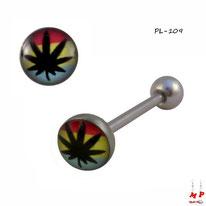 Piercing langue logo feuille de cannabis rasta en acier inox