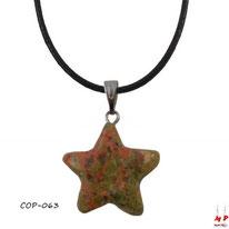Collier à pendentif étoile en pierre d'unakite