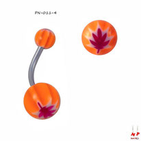 Piercing nombril à boules acryliques oranges et feuilles magenta