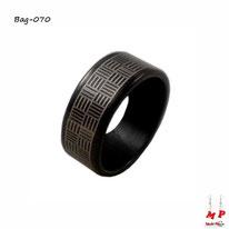 Bague anneau noir à rayures grises en acier inoxydable