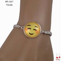 Bracelet emoji timide argenté