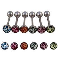 Piercing langue boule plate tachetée 6 couleurs