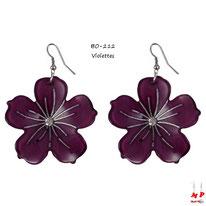 Boucles d'oreilles pendantes grosses fleurs violettes