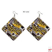 Boucles d'oreilles pendantes carrées motifs jungle et léopard