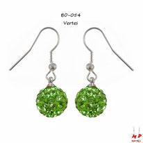 Boucles d'oreilles pendantes shamballa vertes