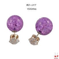 Boucles d'oreilles double strass blancs et perles violettes fissurées