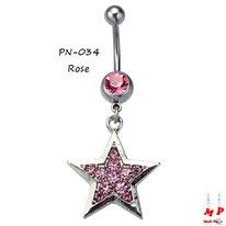 Piercing nombril pendentif étoile argentée sertie de strass roses
