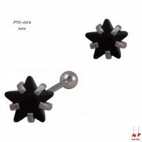 Piercing tragus et cartilage à étoile noire en strass 4mm