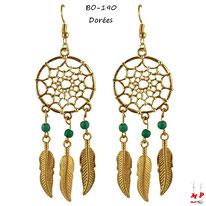 Boucles d'oreilles attrape rêves dorés pendants et perles bleues turquoise