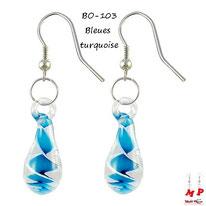 Boucles d'oreilles pendantes gouttes d'eau en verre et tourbillons bleus turquoise