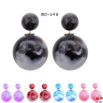 Boucles d'oreilles double perles fumées