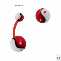 Piercing nombril bioflex à boules acryliques yin yang rouges et blanches