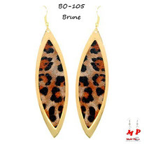 Boucles d'oreilles pendantes ovales léopards brunes et dorées