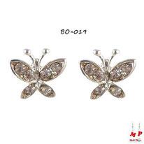 Boucles d'oreilles papillons sertis de strass