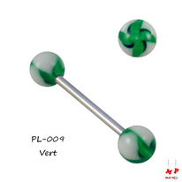 Piercing langue boules flower twist verts