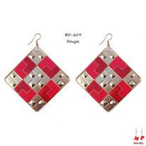 Boucles d'oreilles pendantes carrées à damiers dorés et rouges pailletés