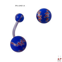 Piercing nombril à boules acryliques balles de baseabll bleues et rouges