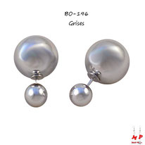 Boucles d'oreilles double perles grises argentées nacrées