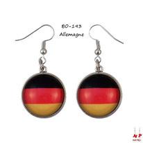 Boucles d'oreilles pendantes drapeau de l'Allemagne en métal argenté et verre