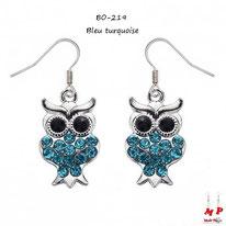 Boucles d'oreilles pendantes hiboux argentés sertis de strass bleu turquoise