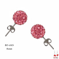 Boucles d'oreilles perles rondes shamballa roses