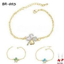 Bracelets trèfles à quatre feuilles dorés cristal bleu, vert ou blanc